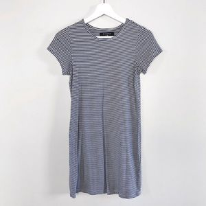 Navy Blue + White Striped T-shirt Dress (S)